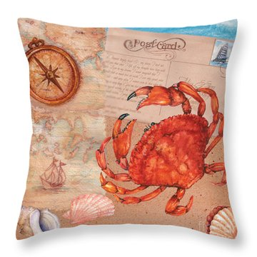 Postcard From The Beach Throw Pillow