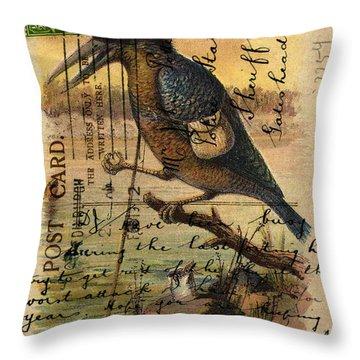 Postcard Kingfisher Throw Pillow by Sarah Vernon