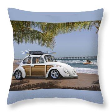 Postcards From Otis - Beach Corgis Throw Pillow