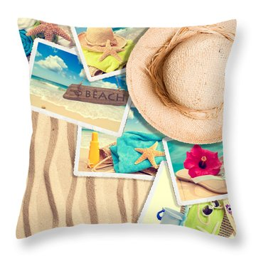 Postcards In The Sand Throw Pillow by Amanda Elwell