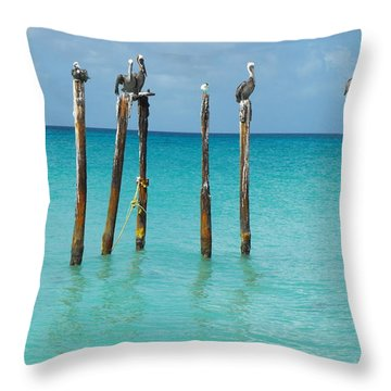Posted Seagull Throw Pillow by David and Lynn Keller