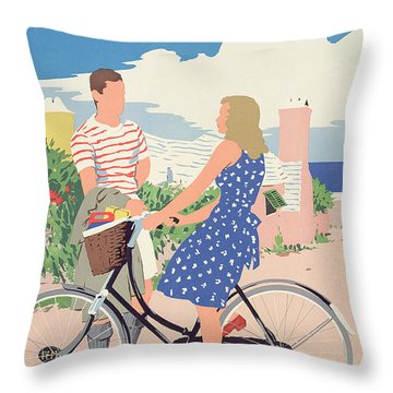 Poster Advertising Bermuda Throw Pillow by Adolph Treidler