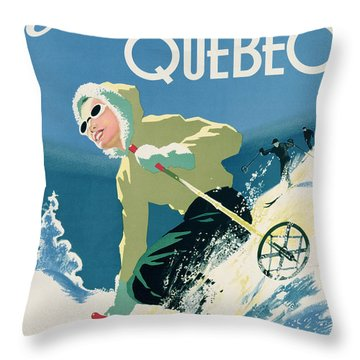Poster Advertising Skiing Holidays In The Province Of Quebec Throw Pillow
