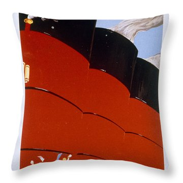 Poster Advertising The Rms Queen Mary Throw Pillow