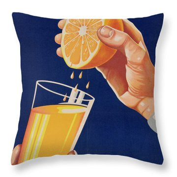 Poster With A Glass Of Orange Juice Throw Pillow