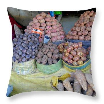 Potato Rainbow Throw Pillow by Lew Davis