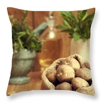 Potatoes Throw Pillow by Amanda Elwell