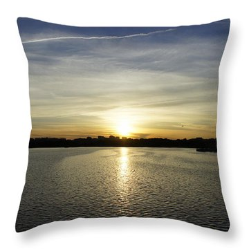 Potomac Sunset Throw Pillow by Laurie Perry