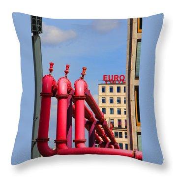 Potsdamer Platz Pink Pipes In Berlin Throw Pillow by Ben and Raisa Gertsberg