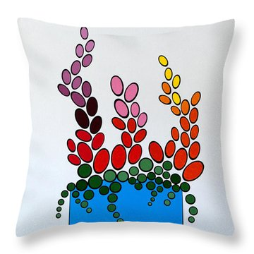 Potted Blooms - Blue Throw Pillow