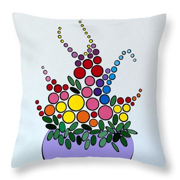 Potted Blooms - Lavendar Throw Pillow