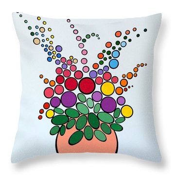 Potted Blooms - Orange Throw Pillow