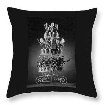 Potted Flowers On A Wrought Iron Stand Throw Pillow
