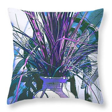 Potted In Blue Throw Pillow by Ginny Schmidt