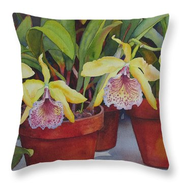 Potted Orchids Throw Pillow