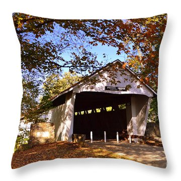 Potter's Bridge In Fall Throw Pillow