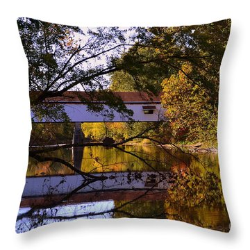 Potter's Covered Bridge Reflection Throw Pillow