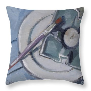 Pottery And Paintbrush Still Life Painting Throw Pillow by Mary Hubley