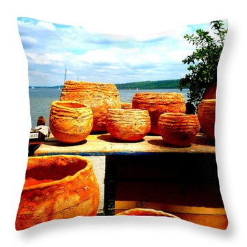 Pottery Market Diessen Throw Pillow by The Creative Minds Art and Photography