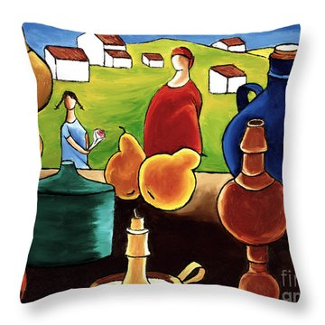 Pottery Still Life Throw Pillow by William Cain
