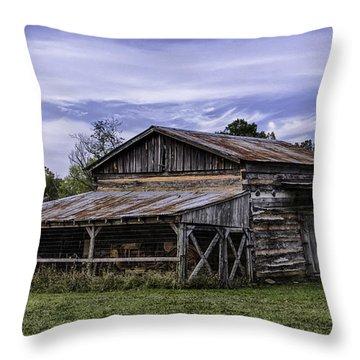 Throw Pillow featuring the photograph Pottsville Arkansas Historic Log Barn by Betty Denise