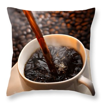 Pouring Coffee Throw Pillow by Johan Swanepoel
