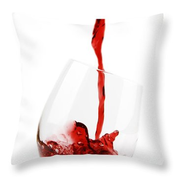 Pouring Red Wine Throw Pillow by Chevy Fleet