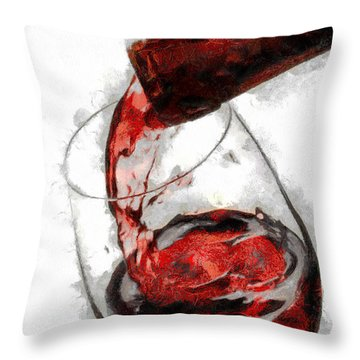 Pouring Red Wine Throw Pillow by Georgi Dimitrov