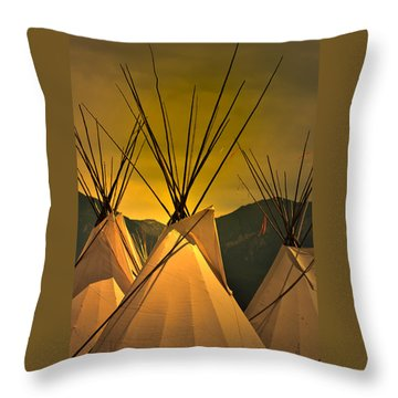 Powwow Camp At Sunrise Throw Pillow