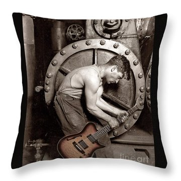 Power Chord Mechanic Throw Pillow by Martin Konopacki