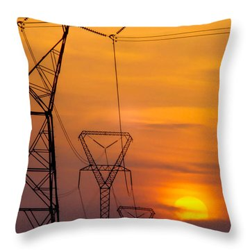 Power Lines At Sunset Throw Pillow