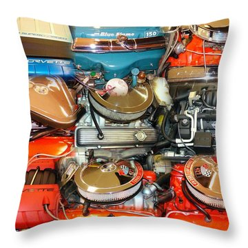 Power Houses Corvette Motors Throw Pillow