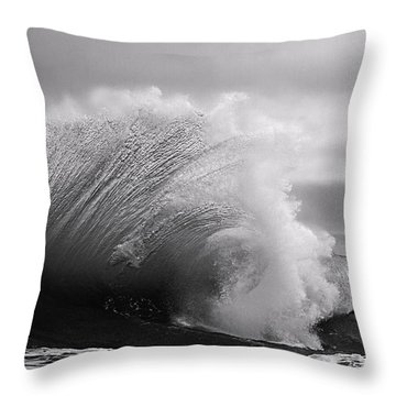 Power In The Wave Bw By Denise Dube Throw Pillow