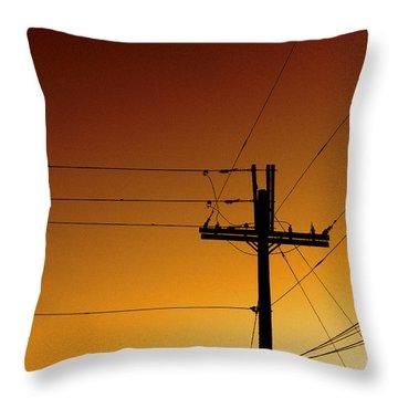 Power Line Sunset Throw Pillow