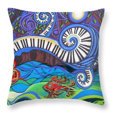 Power Of Music II  Throw Pillow by Genevieve Esson