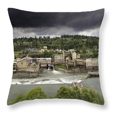 Power Plant At Willamette Falls Lock Throw Pillow