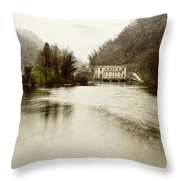 Power Plant On River Throw Pillow