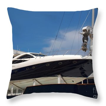Powerful Yacht Carried By Larger Ship Throw Pillow