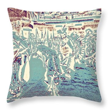 Throw Pillow featuring the photograph Powwow Shadows by Clarice  Lakota