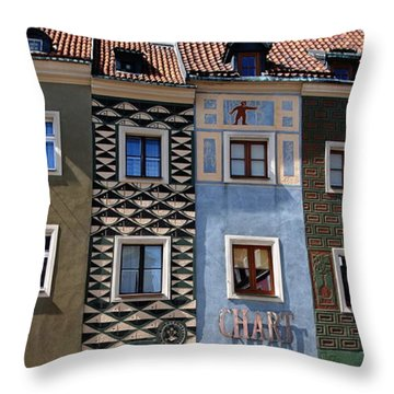 Poznan Town Houses Throw Pillow by Jacqueline M Lewis