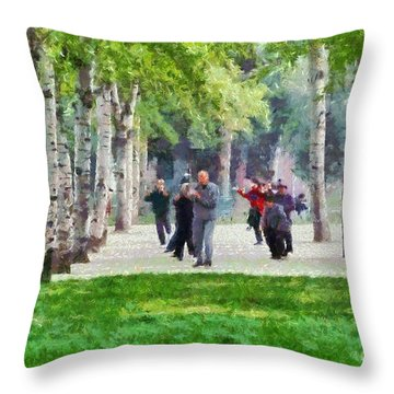 Practicing Martial Arts Throw Pillow by George Atsametakis