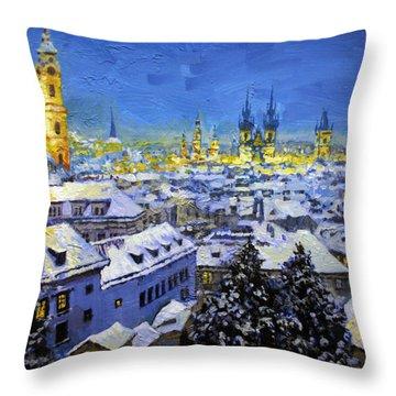 Prague After Snow Fall Throw Pillow