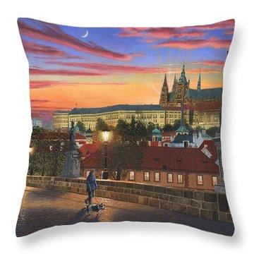 Prague At Dusk Throw Pillow by Richard Harpum