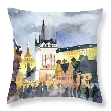 Prague At Night Throw Pillow
