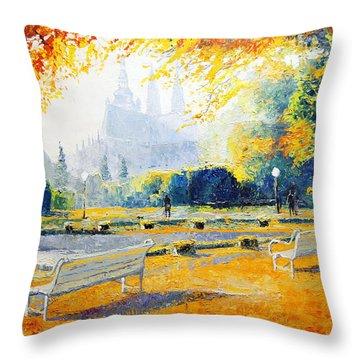 Prague Autumn In The Kralovska Zahrada Throw Pillow by Yuriy Shevchuk