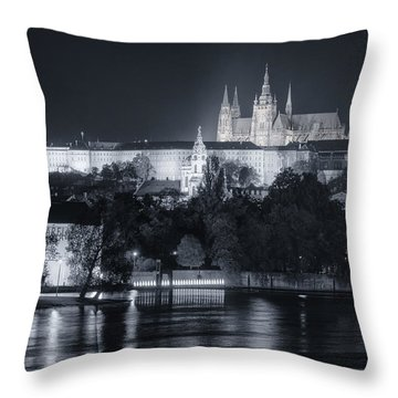 Prague Castle At Night Throw Pillow