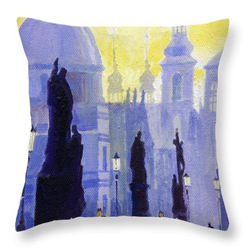 Prague Charles Bridge 03 Throw Pillow by Yuriy  Shevchuk