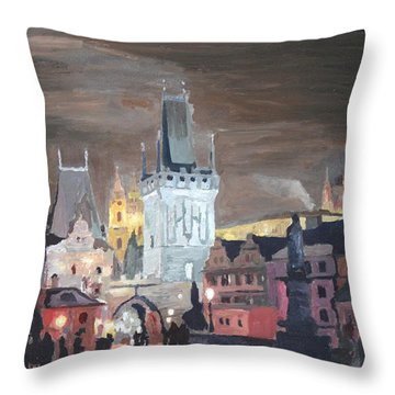Prague Charles Bridge - Karluv Most Throw Pillow by M Bleichner