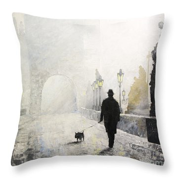 Prague Charles Bridge Morning Walk 01 Throw Pillow