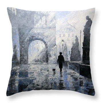 Prague Charles Bridge Morning Walk Throw Pillow by Yuriy Shevchuk